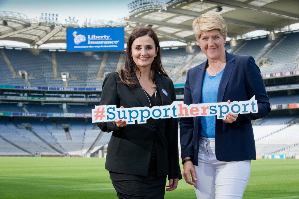 REPRO FREE***PRESS RELEASE NO REPRODUCTION FEE*** Clare Balding Liberty Insurance Women in Sport in Ireland 'WISE UP' Study Launch, Croke Park, Dublin 11/6/2015 'WISE UP' STUDY UNCOVERS BARRIERS TO AND RECOMMENDATIONS FOR GREATER PARTICIPATION OF 'WOMEN IN SPORT' 73% of those now attending live sports fixtures also did so as children. Liberty Insurance calls on parents and families to pledge to bring daughters, nieces, and granddaughters to sporting fixtures. #supporthersport Pictured at Croke Park is Annette Ni Dhathlaoi, Head of Marketing Liberty Insurance, and Clare Balding, author, TV and Radio presenter discussing new research and insights into Women in Sport in Ireland as Liberty Insurance revealed a new study¹, 'WISE UP'. The study has clearly found that going to matches as a child normalises a sporting habit for later life. Liberty Insurance is launching a pledging campaign to encourage parents and families to bring their daughters, sisters, nieces, and granddaughters to a women's sporting fixture this year. People can tweet their pledge using #supporthersport. Strikingly, 'WISE UP' also revealed that Irish women are more active than Irish men – 55% of women describe themselves as active compared to 45% of men. The study is part of a wider series of initiatives undertaken by Liberty Insurance, proud partner of both the GAA Hurling and Camogie Championships, to shine a light on the challenges and opportunities that exist around unlocking transformational gains in Women in Sport (WIS) in Ireland. Mandatory Credit ©INPHO/Morgan Treacy