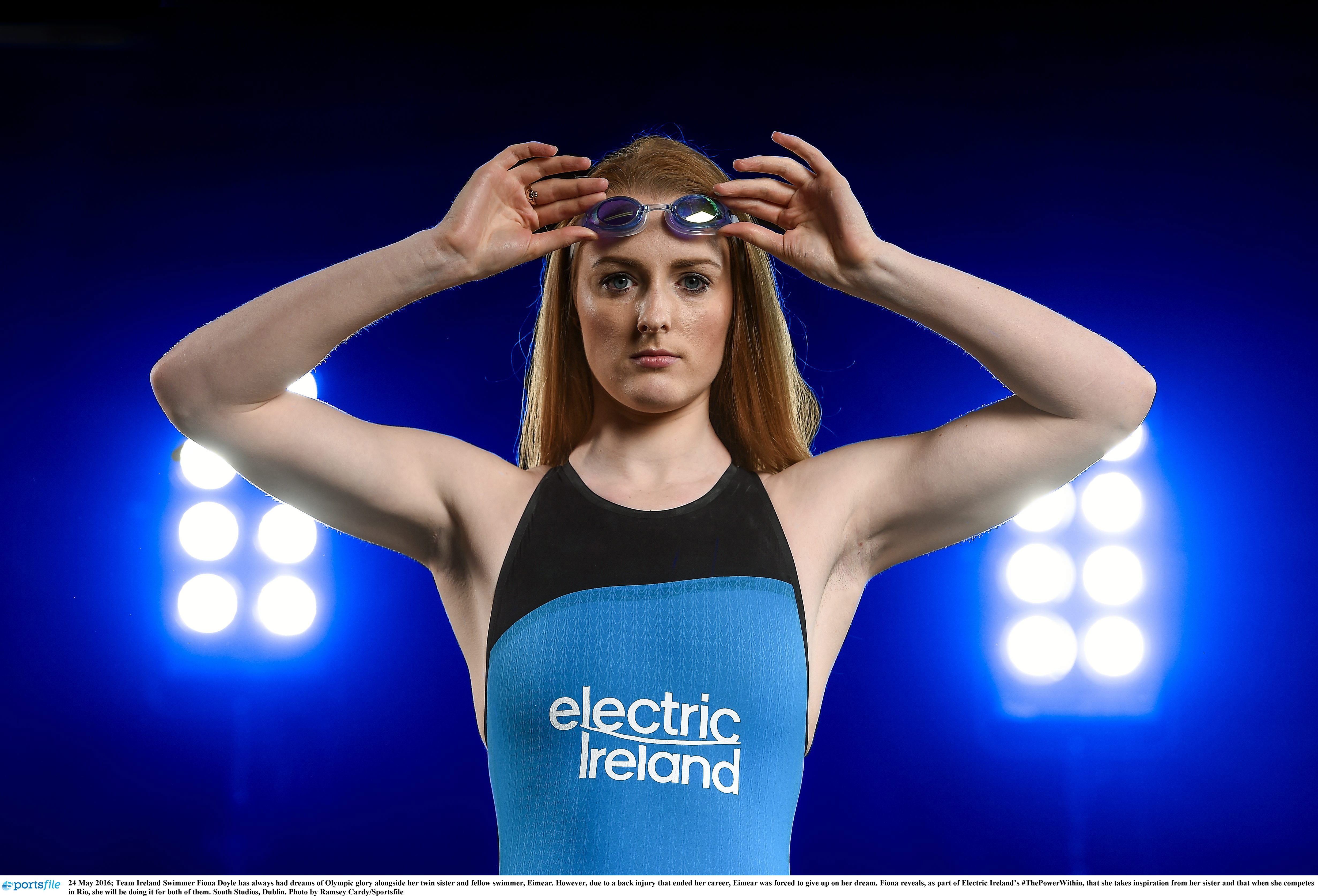 24 May 2016; Team Ireland Swimmer Fiona Doyle has always had dreams of Olympic glory alongside her twin sister and fellow swimmer, Eimear. However, due to a back injury that ended her career, Eimear was forced to give up on her dream. Fiona reveals, as part of Electric Ireland's #ThePowerWithin, that she takes inspiration from her sister and that when she competes in Rio, she will be doing it for both of them. South Studios, Dublin. Photo by Ramsey Cardy/Sportsfile